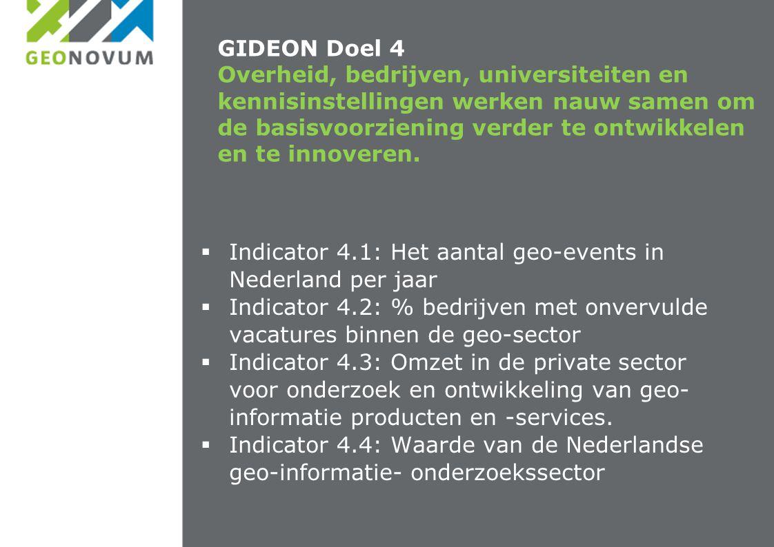 GIDEON Doel 4 Overheid, bedrijven, universiteiten en kennisinstellingen werken nauw samen om de basisvoorziening verder te ontwikkelen en te innoveren.