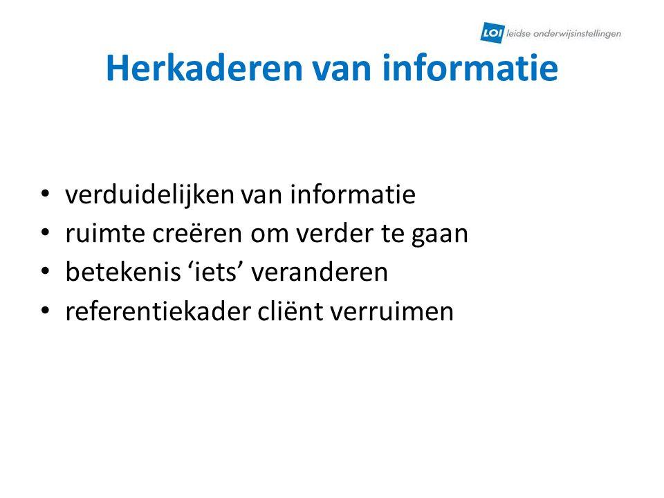 Herkaderen van informatie
