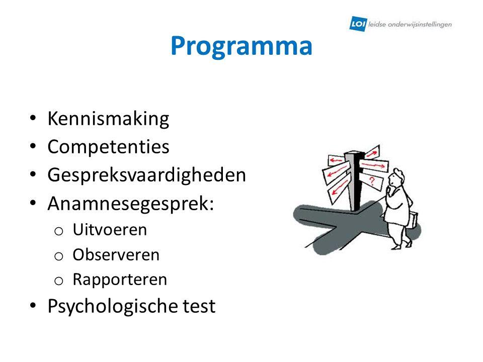 Programma Kennismaking Competenties Gespreksvaardigheden