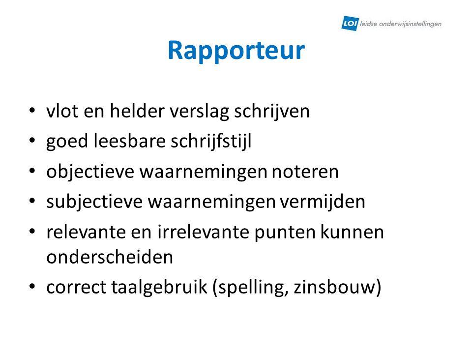 Rapporteur vlot en helder verslag schrijven goed leesbare schrijfstijl
