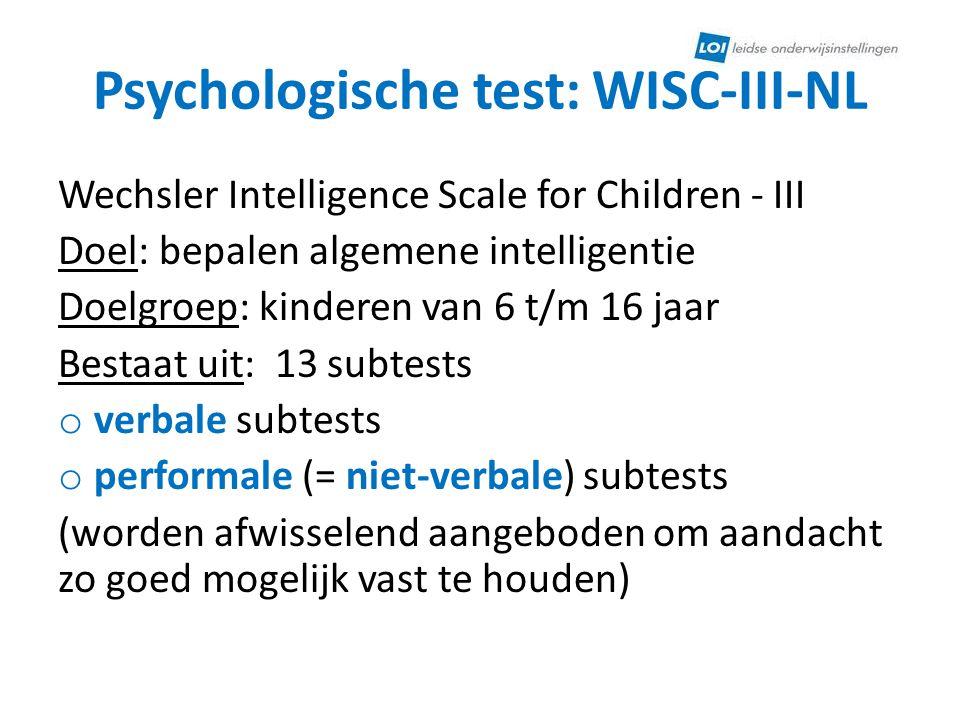 Psychologische test: WISC-III-NL