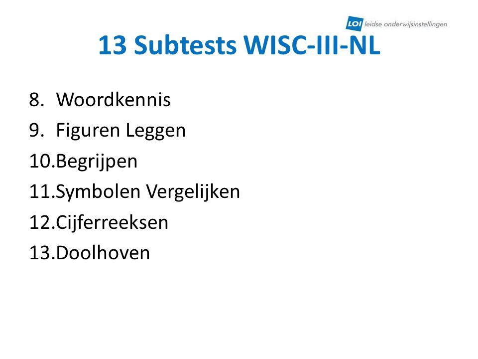 13 Subtests WISC-III-NL Woordkennis Figuren Leggen Begrijpen