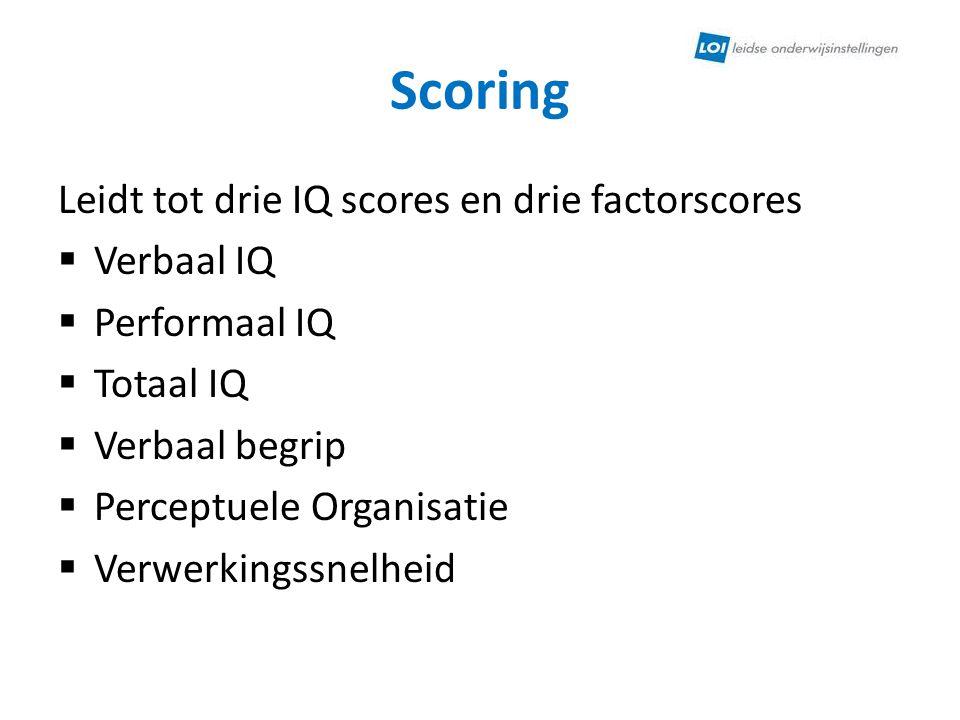 Scoring Leidt tot drie IQ scores en drie factorscores Verbaal IQ