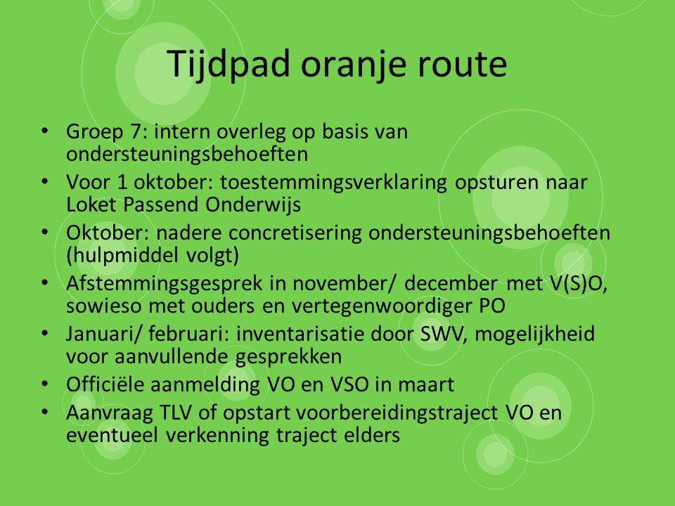 Tijdpad oranje route Groep 7: intern overleg op basis van ondersteuningsbehoeften.