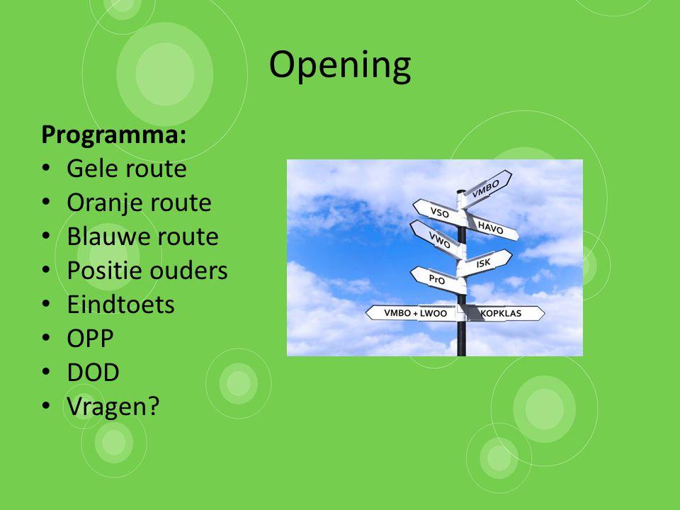 Opening Programma: Gele route Oranje route Blauwe route Positie ouders