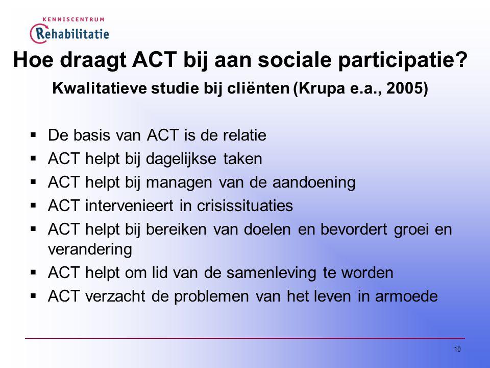 Hoe draagt ACT bij aan sociale participatie