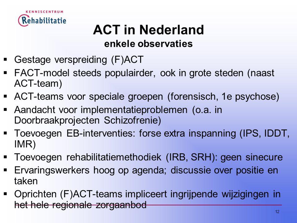 ACT in Nederland enkele observaties