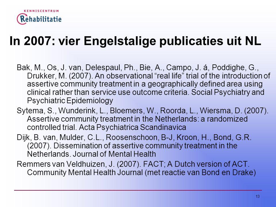 In 2007: vier Engelstalige publicaties uit NL