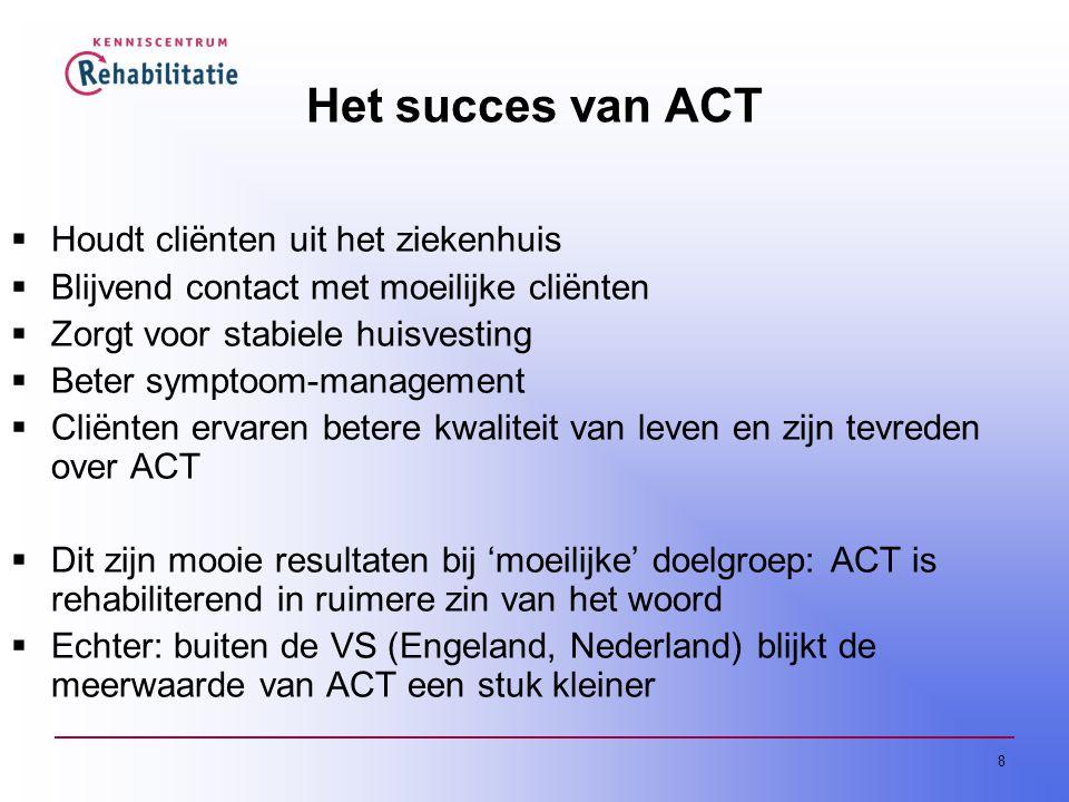 Het succes van ACT Houdt cliënten uit het ziekenhuis