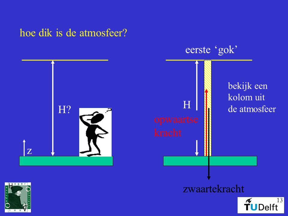 hoe dik is de atmosfeer eerste 'gok' H H opwaartse kracht z