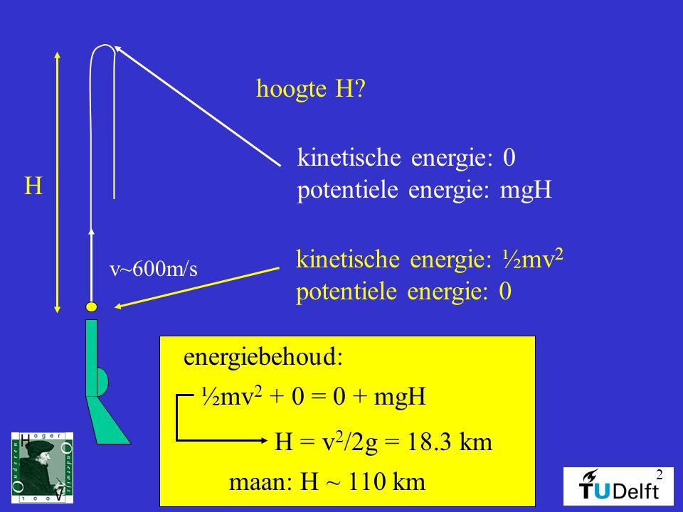 potentiele energie: mgH hoogte H