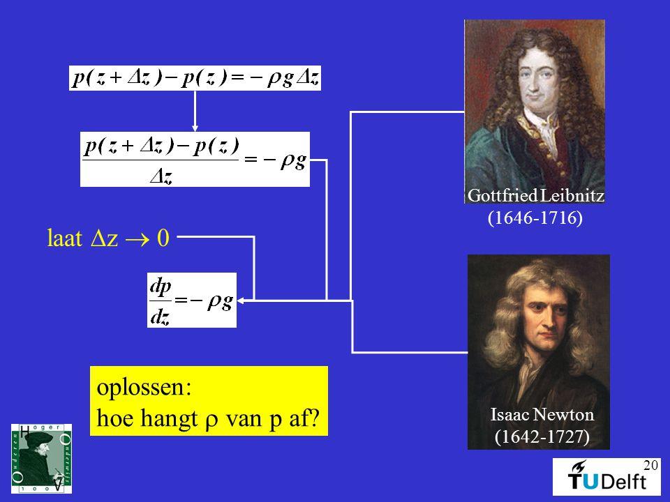 laat Dz  0 oplossen: hoe hangt r van p af Gottfried Leibnitz
