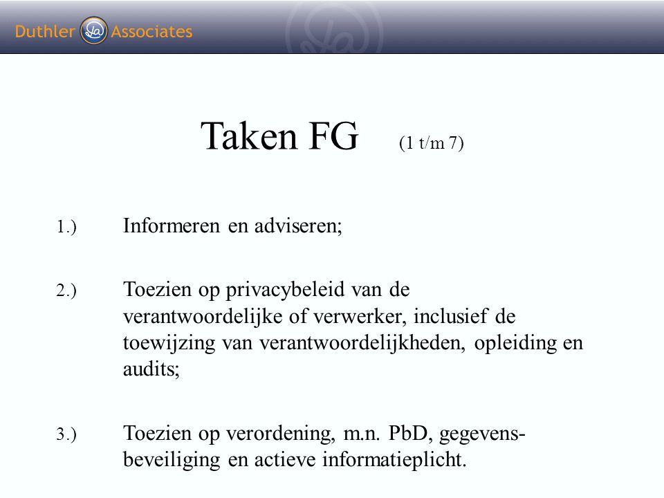 Taken FG (1 t/m 7) 1.) Informeren en adviseren;