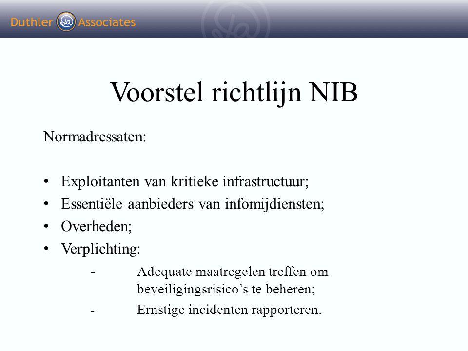 Voorstel richtlijn NIB