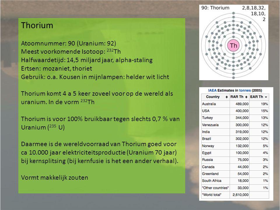 Thorium Atoomnummer: 90 (Uranium: 92) Meest voorkomende Isotoop: 232Th