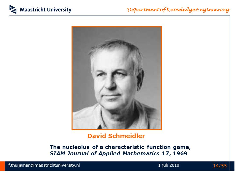 David Schmeidler The nucleolus of a characteristic function game, SIAM Journal of Applied Mathematics 17, 1969.