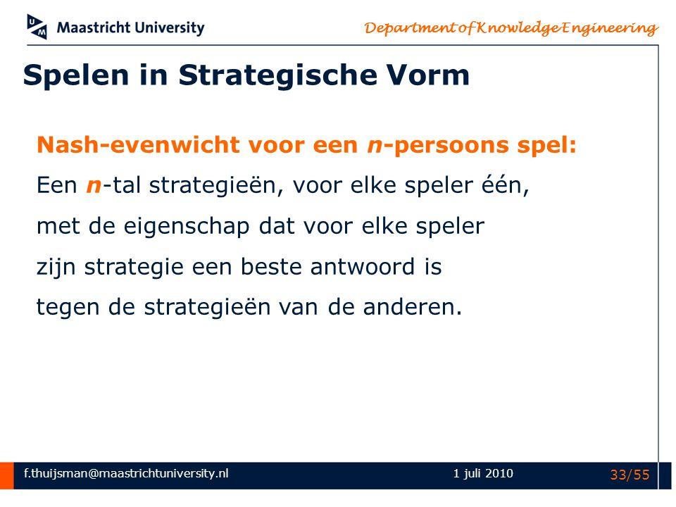 Spelen in Strategische Vorm