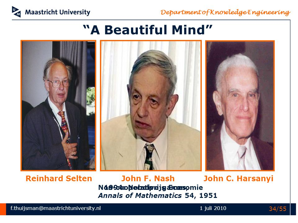 A Beautiful Mind Reinhard Selten John F. Nash John C. Harsanyi