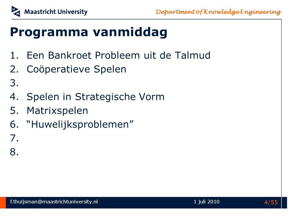 Programma vanmiddag Een Bankroet Probleem uit de Talmud