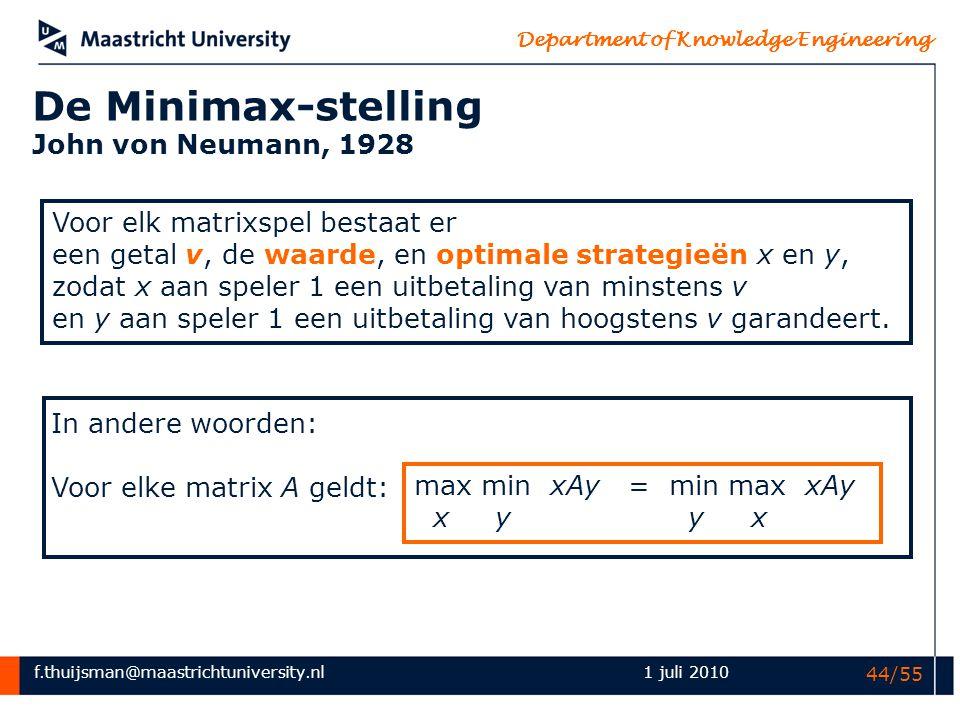 De Minimax-stelling John von Neumann, 1928