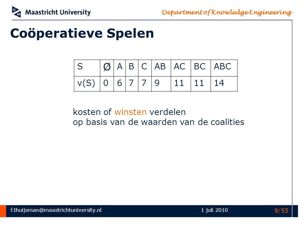 Coöperatieve Spelen Ø S A B C AB AC BC ABC v(S) 6 7 9 11 14