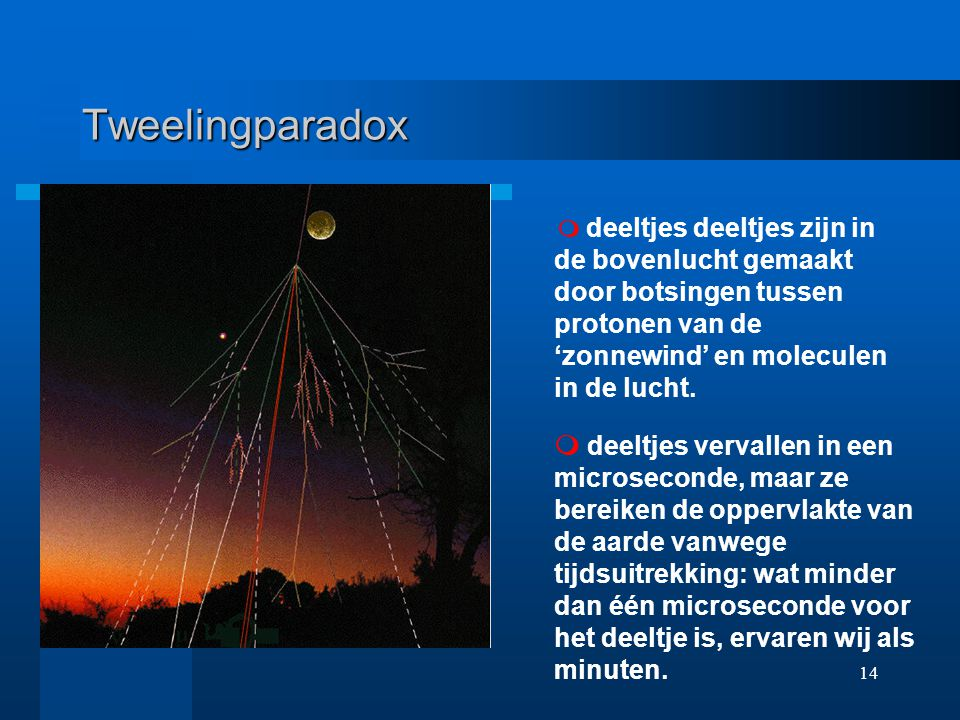 Tweelingparadox m deeltjes deeltjes zijn in de bovenlucht gemaakt door botsingen tussen protonen van de 'zonnewind' en moleculen in de lucht.