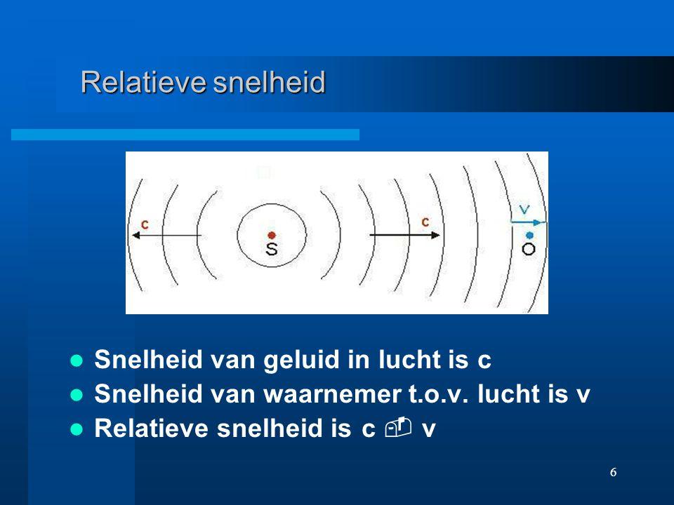 Relatieve snelheid Snelheid van geluid in lucht is c