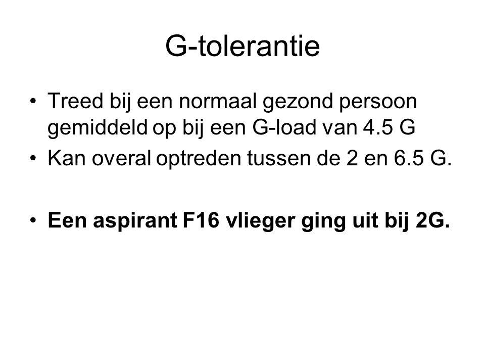 G-tolerantie Treed bij een normaal gezond persoon gemiddeld op bij een G-load van 4.5 G. Kan overal optreden tussen de 2 en 6.5 G.