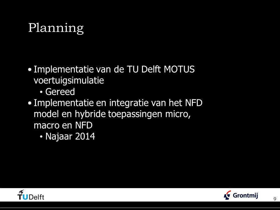 Planning Implementatie van de TU Delft MOTUS voertuigsimulatie Gereed