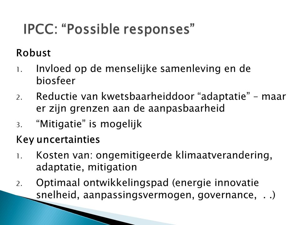 IPCC: Possible responses