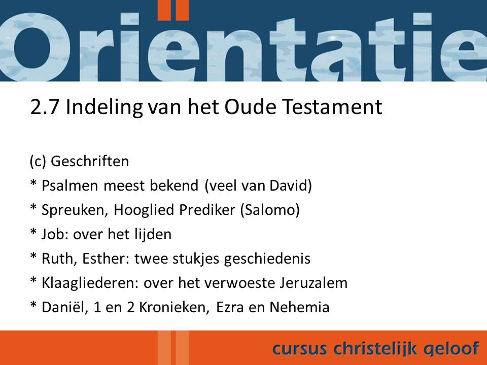 2.7 Indeling van het Oude Testament