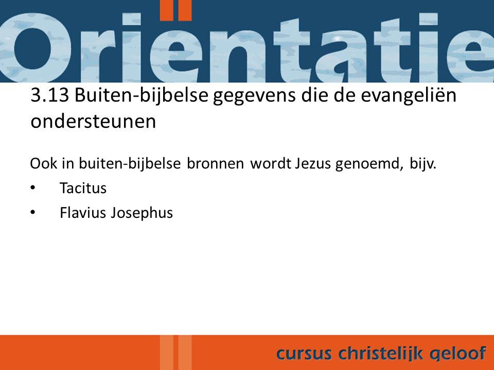 3.13 Buiten-bijbelse gegevens die de evangeliën ondersteunen