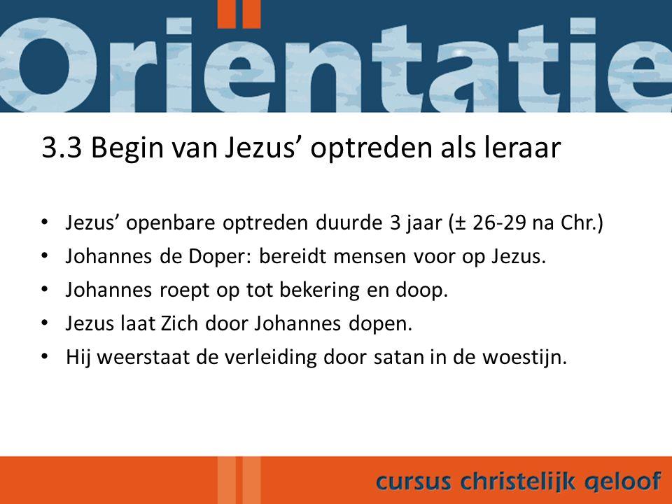 3.3 Begin van Jezus' optreden als leraar