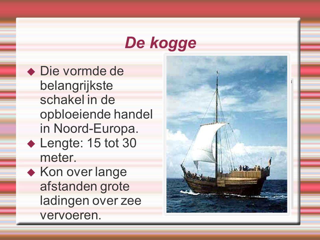 De kogge Die vormde de belangrijkste schakel in de opbloeiende handel in Noord-Europa. Lengte: 15 tot 30 meter.
