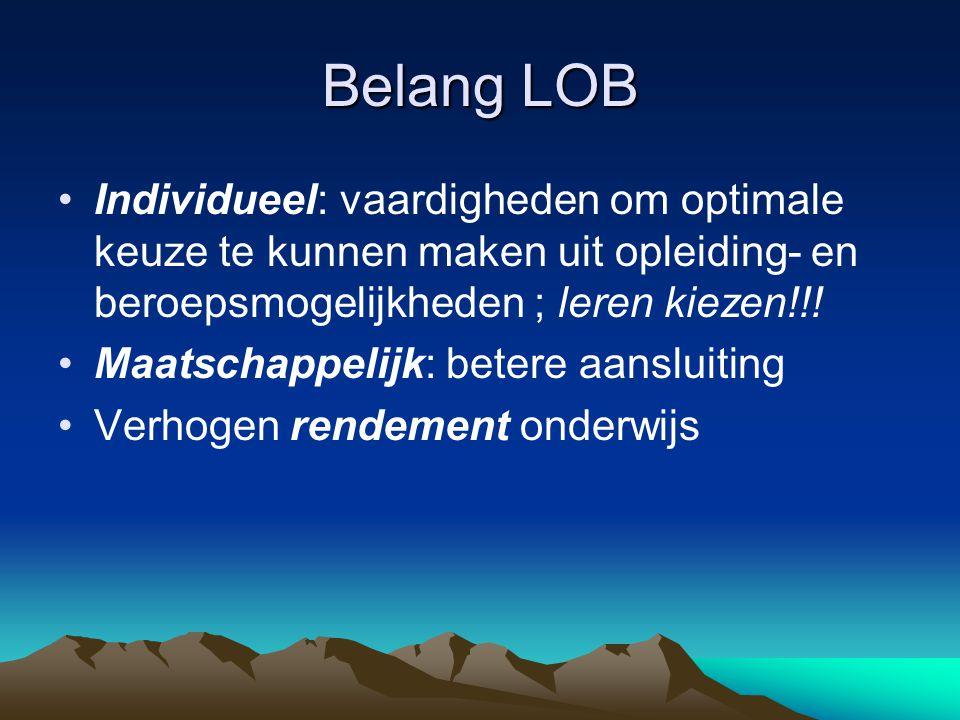 Belang LOB Individueel: vaardigheden om optimale keuze te kunnen maken uit opleiding- en beroepsmogelijkheden ; leren kiezen!!!