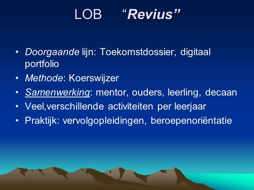 LOB Revius Doorgaande lijn: Toekomstdossier, digitaal portfolio