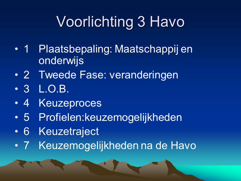 Voorlichting 3 Havo 1 Plaatsbepaling: Maatschappij en onderwijs
