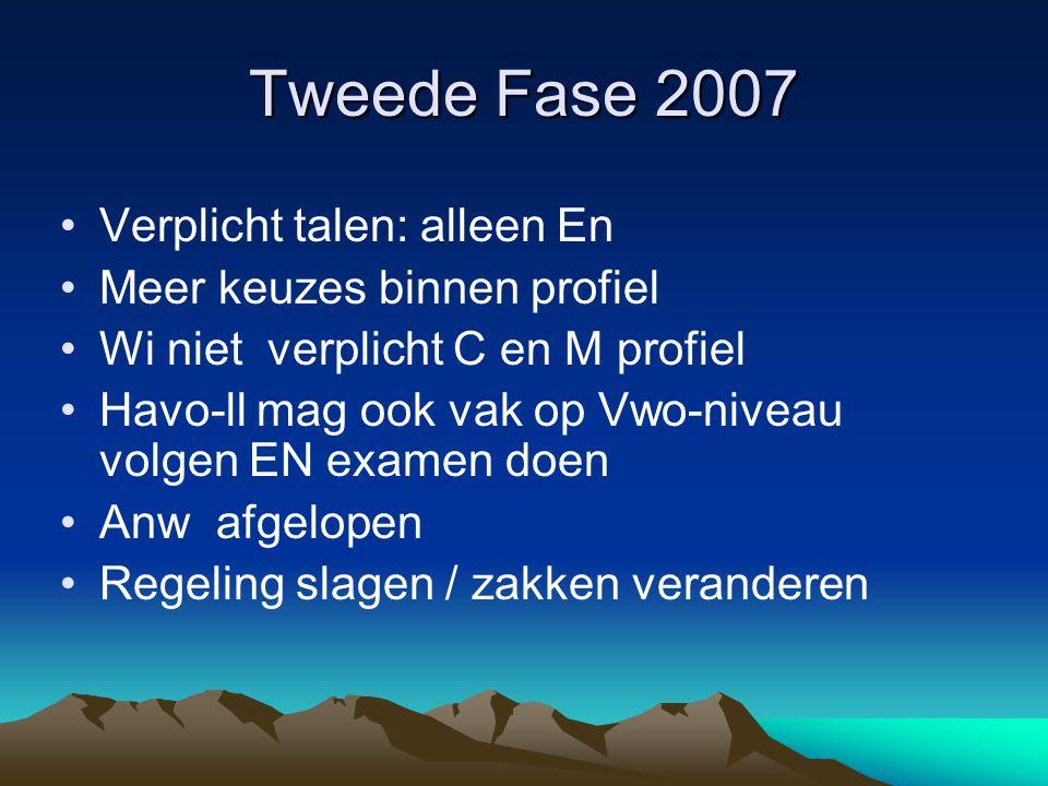 Tweede Fase 2007 Verplicht talen: alleen En Meer keuzes binnen profiel