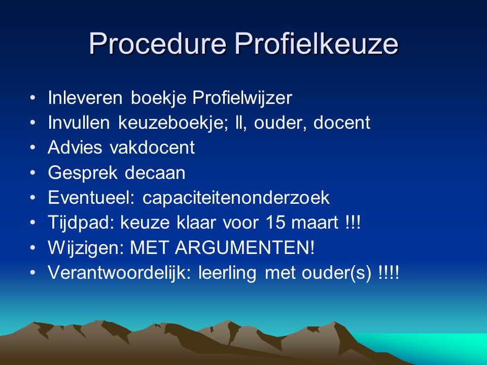 Procedure Profielkeuze