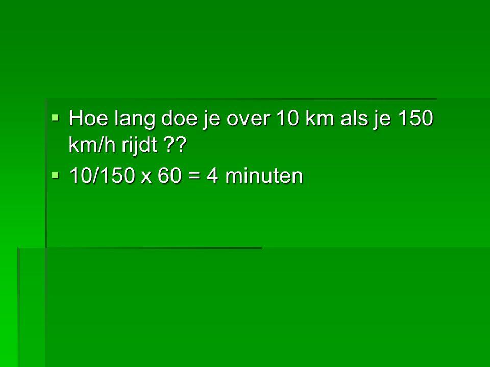 Hoe lang doe je over 10 km als je 150 km/h rijdt