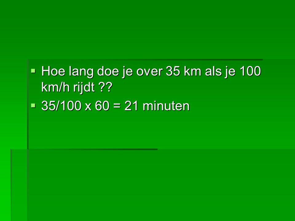 Hoe lang doe je over 35 km als je 100 km/h rijdt