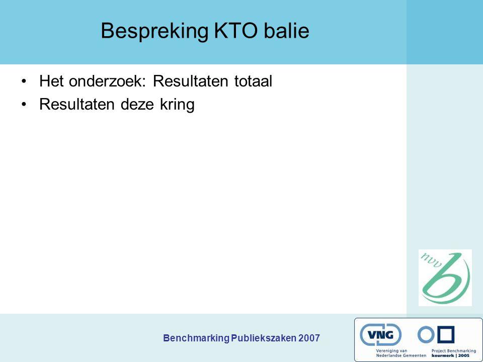 Bespreking KTO balie Het onderzoek: Resultaten totaal