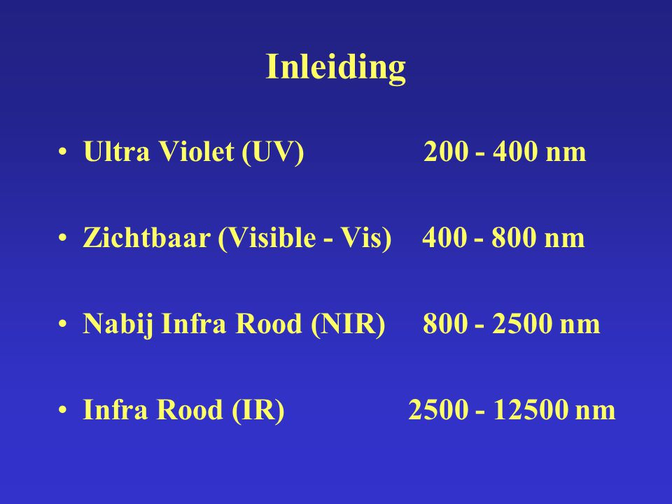Inleiding Ultra Violet (UV) nm