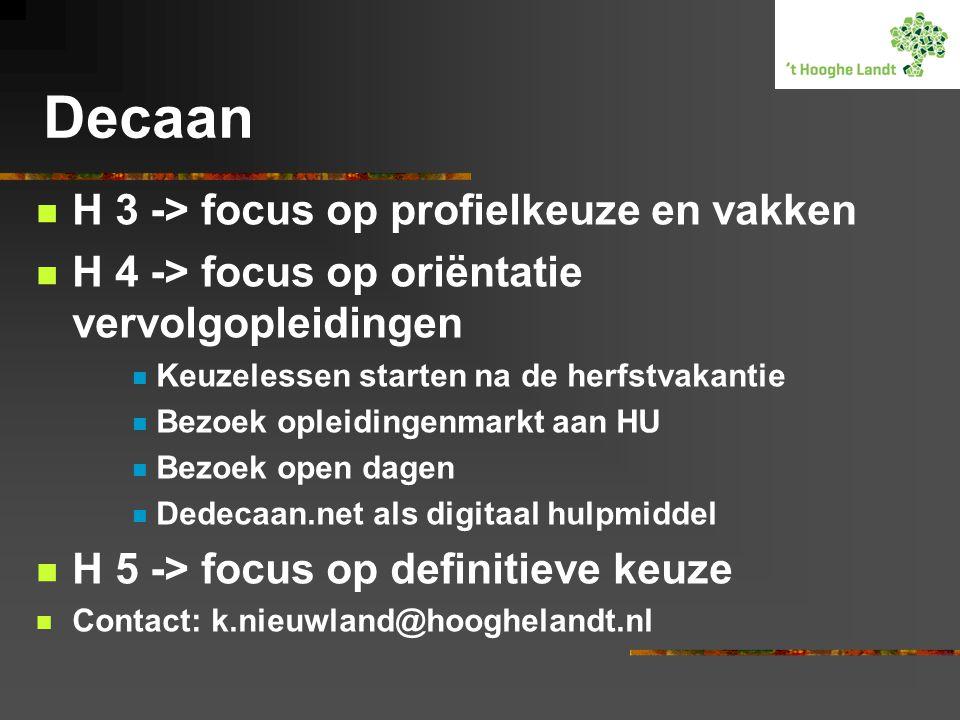 Decaan H 3 -> focus op profielkeuze en vakken