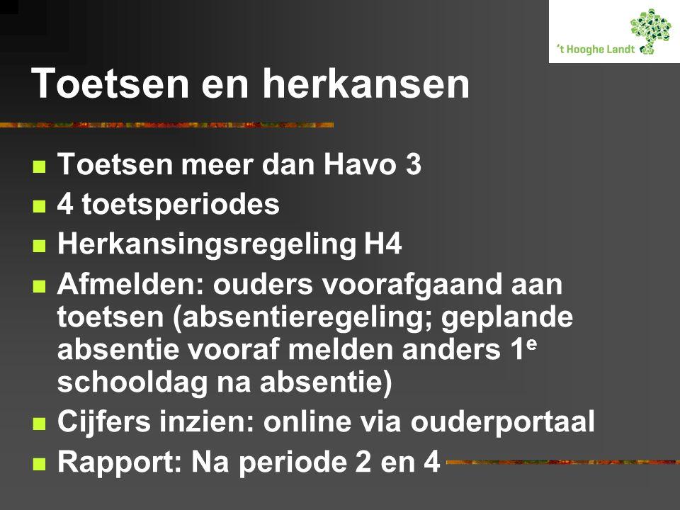 Toetsen en herkansen Toetsen meer dan Havo 3 4 toetsperiodes