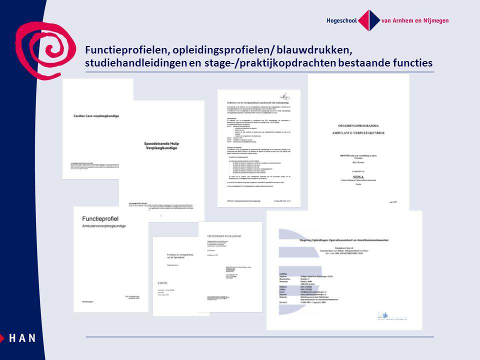 Functieprofielen, opleidingsprofielen/ blauwdrukken, studiehandleidingen en stage-/praktijkopdrachten bestaande functies