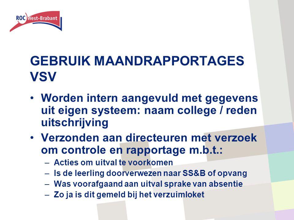 GEBRUIK MAANDRAPPORTAGES VSV