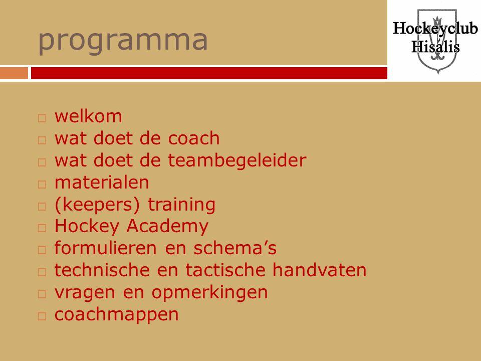 programma welkom wat doet de coach wat doet de teambegeleider