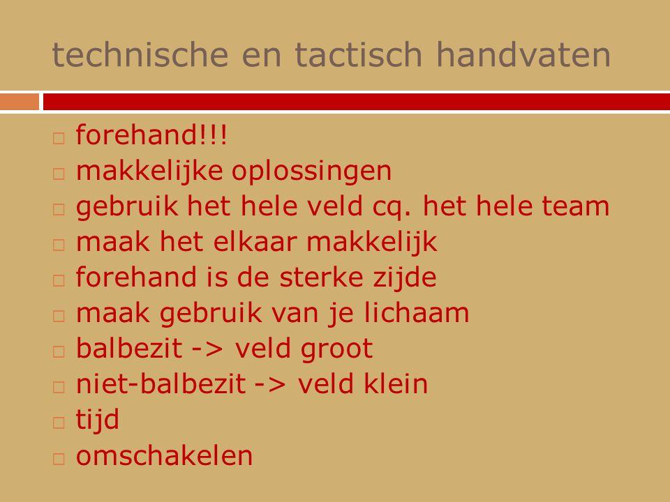 technische en tactisch handvaten