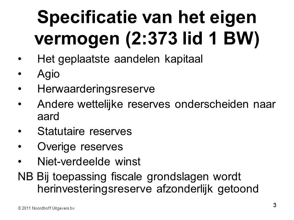 Specificatie van het eigen vermogen (2:373 lid 1 BW)
